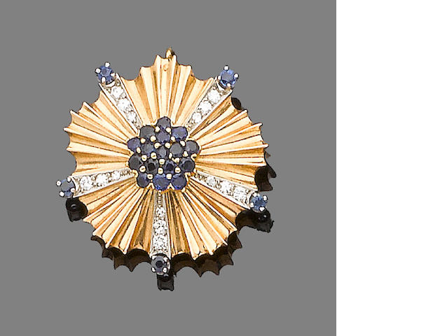 A diamond and sapphire brooch, by Tiffany & Co.