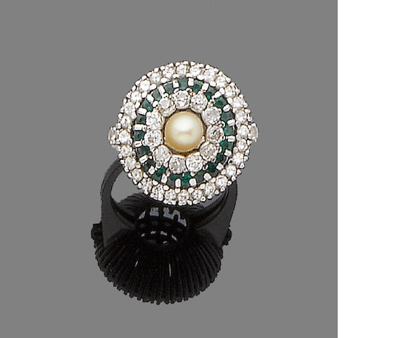 A cultured pearl, emerald and diamond dress ring