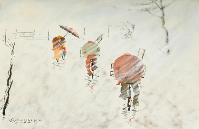 John Koenakeefe Mohl (South African, 1903-1985) 'Cyclists in storm, Country scene, Western Transvaal'