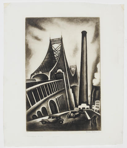 Howard Norton Cook (American, 1901-1980) Queensborough Bridge, NY Etching with aquatint, 1930, on laid, signed, dated and numbered 15/50 in pencil, with margins, 354 x 295mm (14 x 11 5/8in) (SH) (unframed)