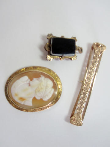 Shell cameo brooch together with sardonyx fob and gold bar