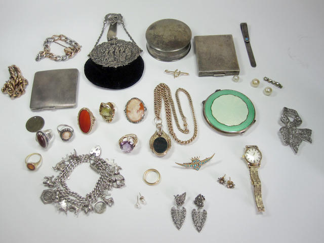 A collection of jewellery including fob and chain, silver charm bracelet, turquoise & pearl brooch, semi-precious & gold rings, Omega ladies gold watch, Continental silver purse, silver pill box, three silver compacts, silver money clip.