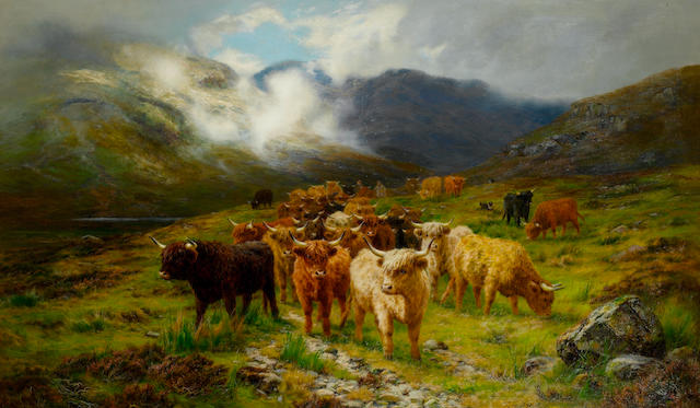 Louis Bosworth Hurt (British, 1856-1929) Highland Cattle, Isle of Skye 91.5 x 152.5 cm. (36 x 60 1/16 in.)