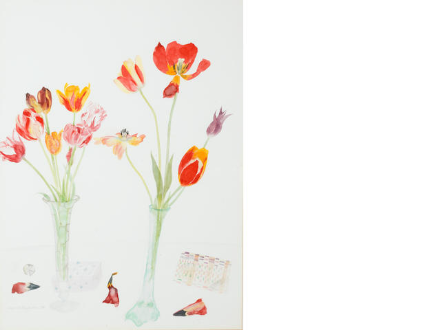 Dame Elizabeth Blackadder, OBE RA RSA RSW RGI DLitt (British, born 1931) Tulips and Boxes 78 x 57.2 cm. (30 3/4 x 22 1/2 in.)