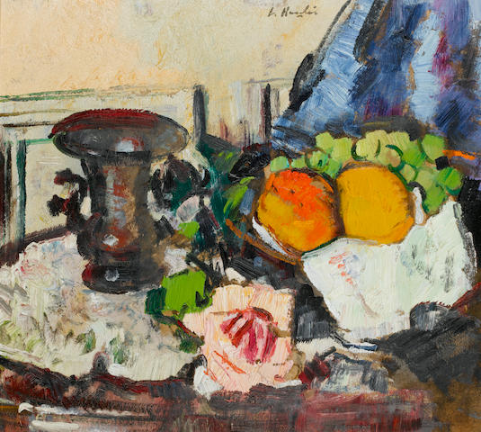George Leslie Hunter (British, 1877-1931) Still Life with Oranges and Grapes 46 x 50.8 cm. (18 x 20 in.)