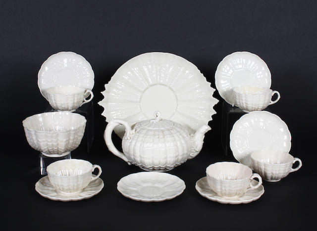 A Belleek Tridacna part tea service, circa 1863-90