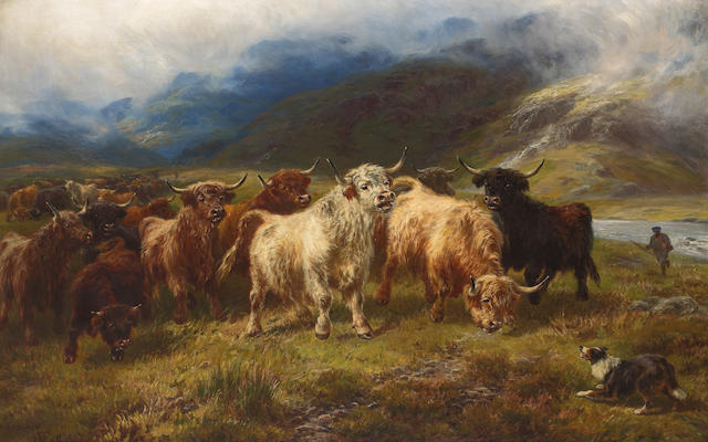 Henry Garland (British, active circa 1854-1890) Collecting Highland cattle