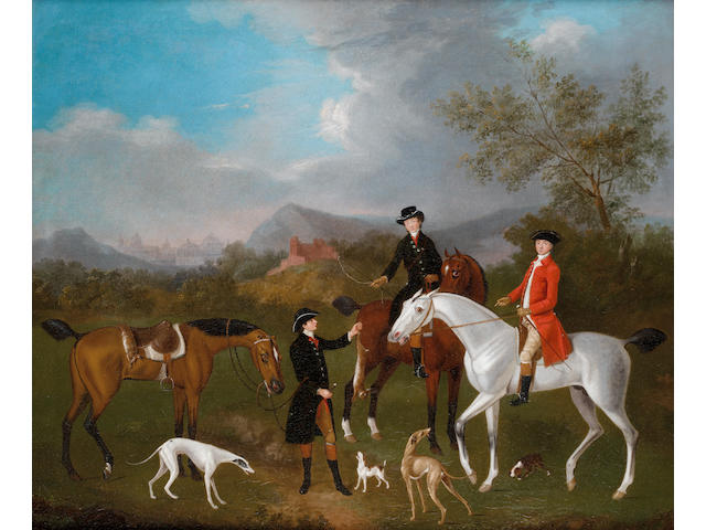 Attributed to Francis Sartorius (London 1734-1804) A coursing party in a landscape, with an architectural  capriccio on the horizon