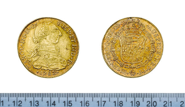 Colombia, Charles III, 8 Escudos, 1782 NR JJ, 27.08g, armoured bust right,