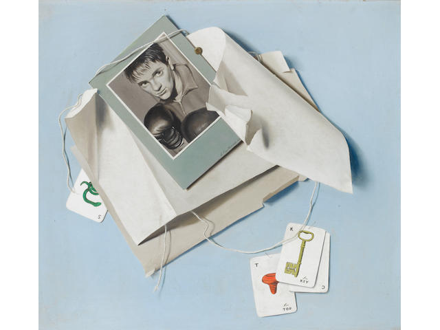 Roy Hobdell (British) A set of three trompe l'oeil paintings of boxing subjects
