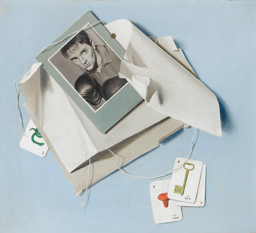Leslie Roy Hobdell (British, 1911-1961) Boxing greats, a set of three trompe l'oeil paintings of boxing subjects