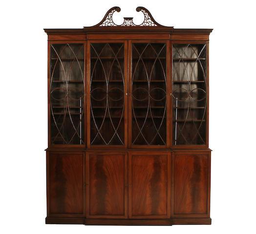 A mahogany bookcase with astragal glazed doors