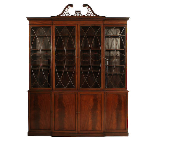 A mahogany bookcase with astragal glazed doors