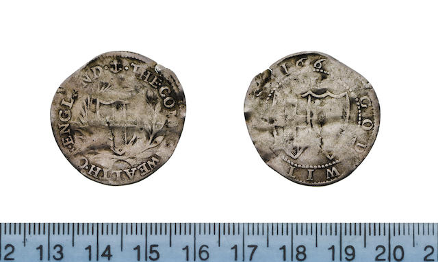 Commonwealth, Sixpence, 166-, 2.61g, shield of St.George within wreath,