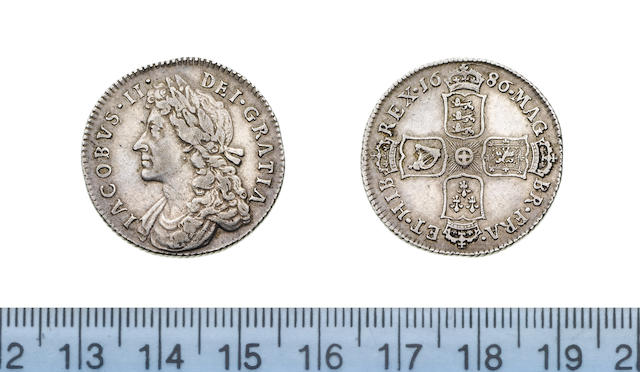 James II, 1685-88, Shilling, 1686, laureate and draped bust left,