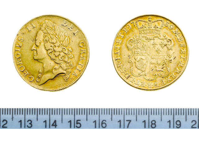George II, 1727-60, Two Guineas, 1739, intermediate laureate head left,