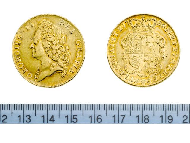 George II, 1727-60, Two Guineas, 1739, intermediate laureate head left,