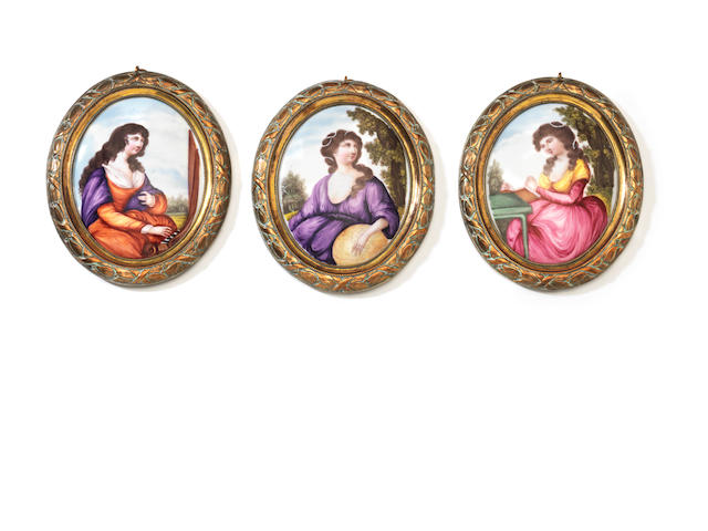 Set of three plaques, oval allegories, music, science and lit