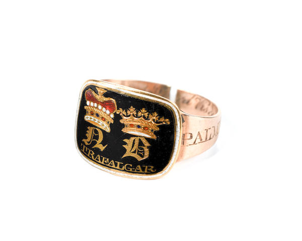 A George lll gold and enamel mourning ring, Admiral Nelson.