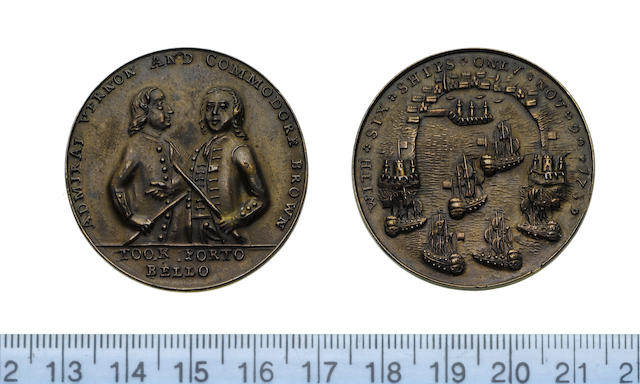 Capture of Portobello 1739, Bronze medal, 38mm, 14.94g, half length figures of Veron and Brown, each in a frock coat and holding a staff, ADMIRAL VERNON AND COMMODORE BROWN, TOOK PORTO BELLO in exergue,