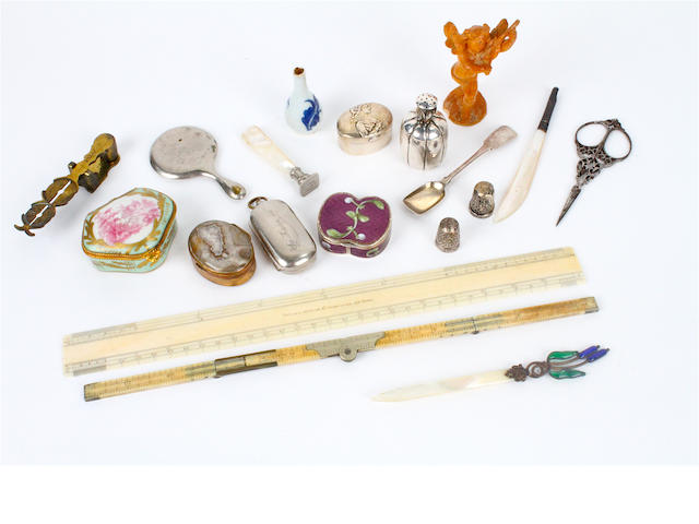A mixed group of silver and related items