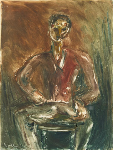 Wolf Kibel (Polish, 1903-1938) Seated gentleman 21.5 x 16.5cm (8 1/2 x 6 1/2in)(PL).