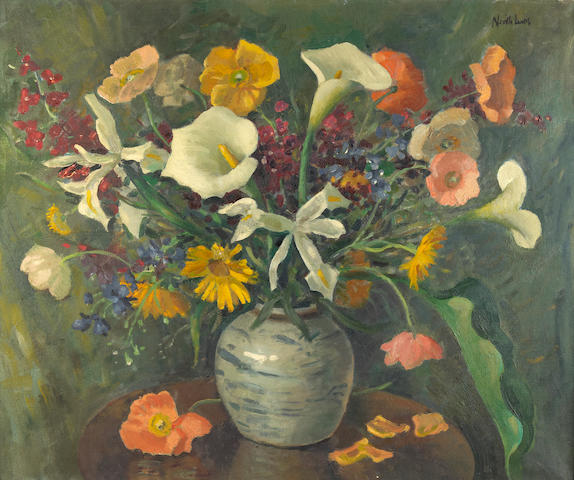 Neville Lewis (South African, 1895-1972) A still life of summer flowers
