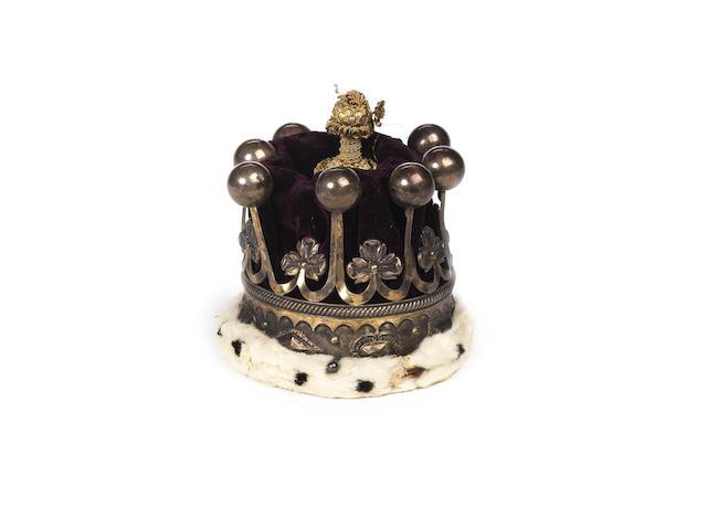 A lady's silver, red velvet, gold thread and ermine coronet