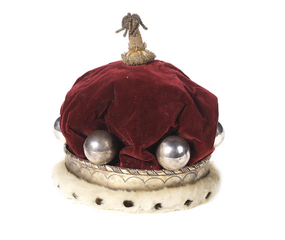A early 20th century silver plated, ermine and red velvet coronet  made by H Poole & Co, Savill Row