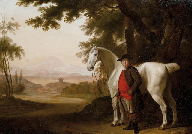 George Garrard (? 1760-1826 London) A grey horse held by its owner in a landscape