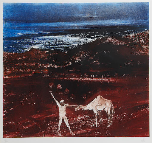 Sidney Nolan (Australian, 1917-1992) Ned Kelly III?? Check titles circa 1980? aquatint printed in colours, on Arches, signed and numbered 51/60 in pencil, printed by Kelpra Studio, London, with their blindstamp, with full margins,  455 x 570mm (18 x 22 1/4in) (PL)
