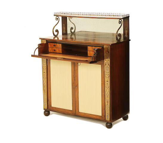 A Regency brass mounted and brass inlaid rosewood secretaire chiffonier