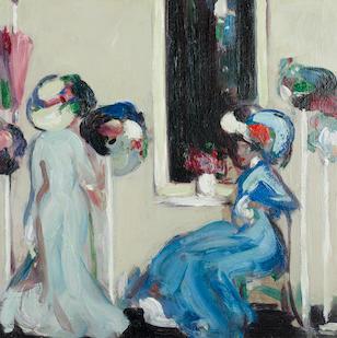 John Duncan Fergusson, RBA (British, 1874-1961) At the Milliner's, Paris 38 x 38 cm. (15 x 15 in.)