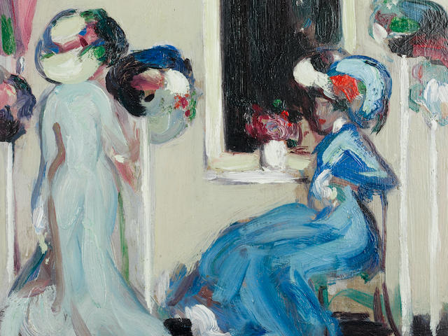 John Duncan Fergusson, RBA (British, 1874-1961) At the Milliner's, Paris 38 x 38 cm. (15 x 15 in.)