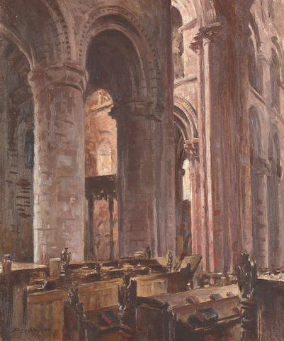 Stanley Cursiter, CBE RSA RSW (British, 1887-1976) Interior of St Magnus' Cathedral, Kirkwall 60 x 51 cm. (23 5/8 x 20 1/16 in).