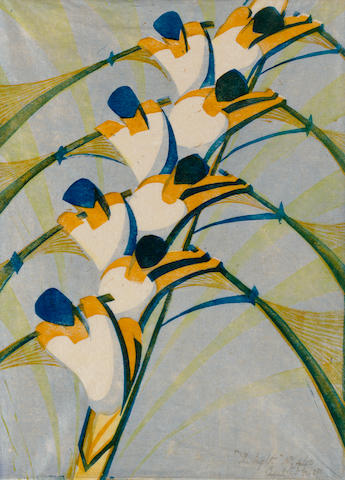 Cyril Edward Power (British, 1872-1951) The Eight (Coppel CEP 18; Vann 18) Linocut printed in chrome orange, permanent blue, pale chrome and Chinese blue, 1930, on buff oriental laid tissue, signed, titled and numbered 4/50 in pencil, with margins, 391 x 286 mm (15 3/8 x 11 1/4 in) (SH)