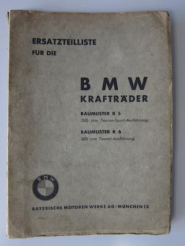 A BMW R5 spares brochure,