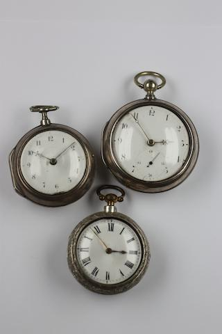 A George III silver pair cased pocket watch James Master