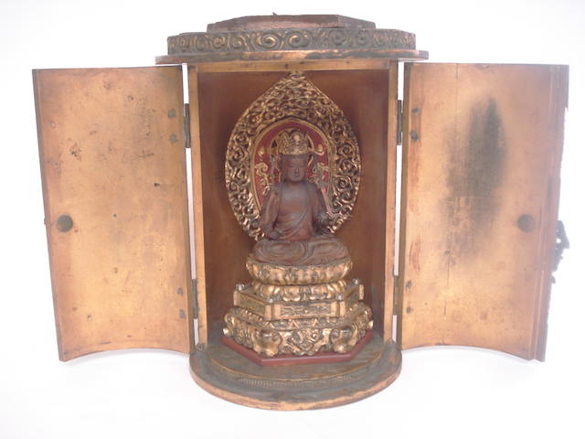 A travelling altar with enthroned Buddha Japanese
