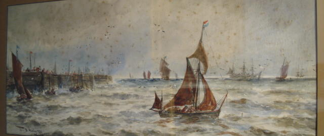 Attributed to Thomas Bush Hardy (British, 1842-1897) Fishing vessels leaving harbour