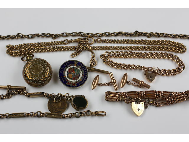 A Victorian gold curb-link chain bracelet,