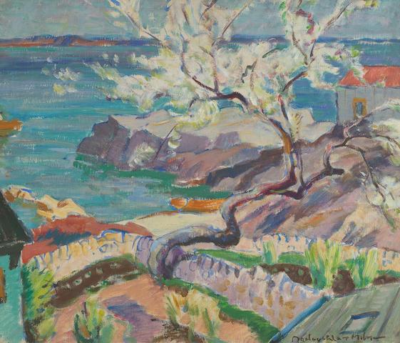 John MacLauchlan Milne, RSA (British, 1886-1957) Corrie, Arran 50 x 60 cm. (19 11/16 x 23 5/8 in).