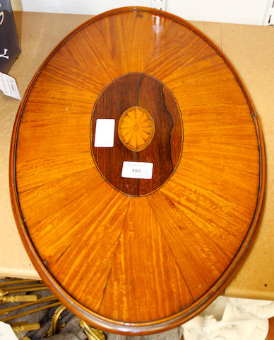 An Edwardian oval satinwood tray