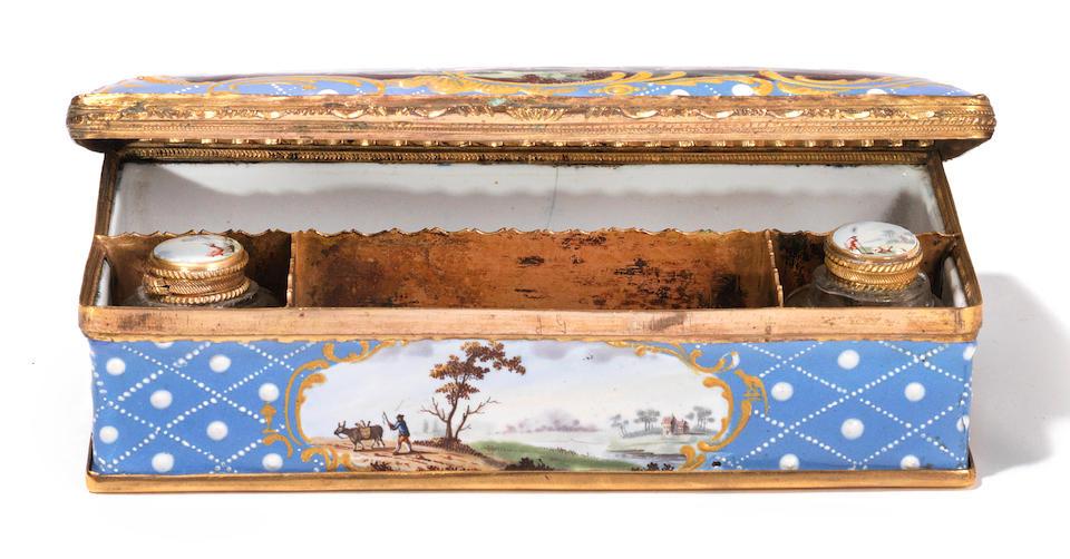 A South Staffordshire enamel writing box, circa 1770