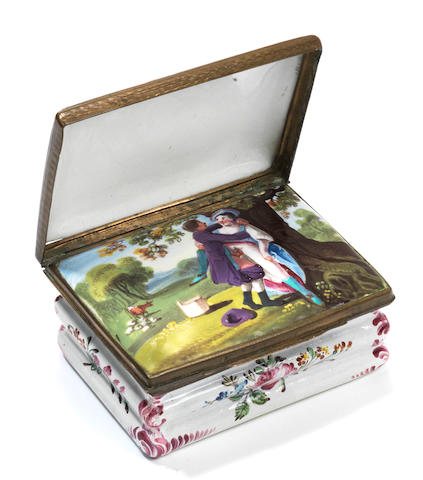 A South Staffordshire enamel erotic double-lidded snuff box, circa 1770