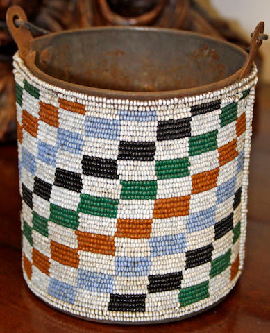 A North Nguni beaded container 12cm diameter.
