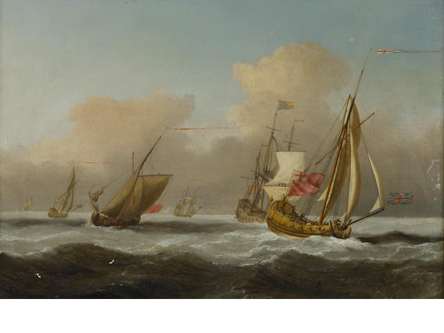 Follower of Peter Monamy (British, 1681-1749) An Admiralty yacht bearing away from ships of the fleet in a heavy swell