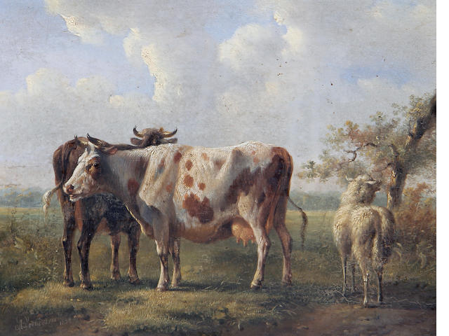 Albertus Verhoesen (Dutch, 1806-1881) Cattle in a field