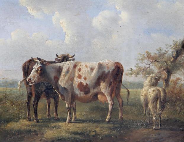 Albertus Verhoesen (Dutch, 1806-1881) Cattle in a field