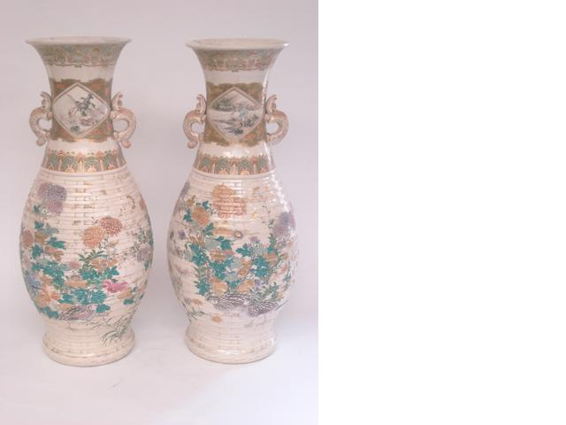 A pair of earthenware Satsuma floor vases Meiji